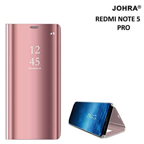 sale retailer c7786 e6e13 Johra® Luxury Clear View Electroplate Mirror Protective Leather Flip Cover  for Xiaomi Mi Redmi Note 5 Pro (Rose Gold)