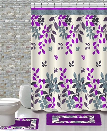 BH Home & Linen 15 Piece Floral Designs Banded Shower Curtain Bath Set,1,Bath Rug,1 Contour Rug 1, Shower Curtain 12 Metal Crystal Roller Ball Shower Hooks. (Forest Purple) from BH Home & Linen