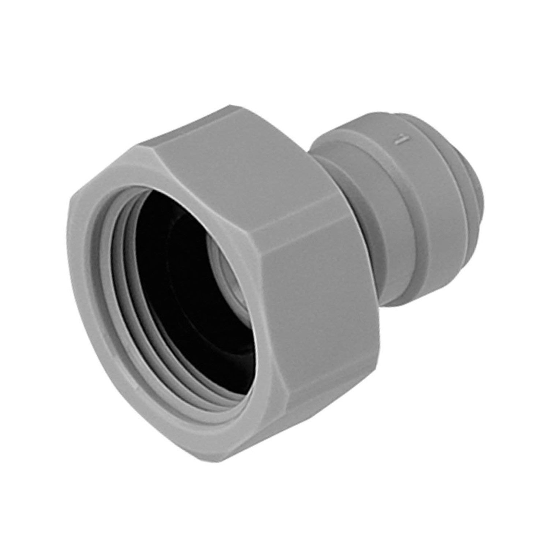 VYAIR-DMfit - Adaptador hembra (extremo plano, 3/8 pulgadas, tubo de empuje O.D. a rosca BSP de 3/4' (repuesto compatible para John Guest Speedfit CI321216FS) para dispensadores de filtro de agua y ó smosis inversa (1) DM-FIT