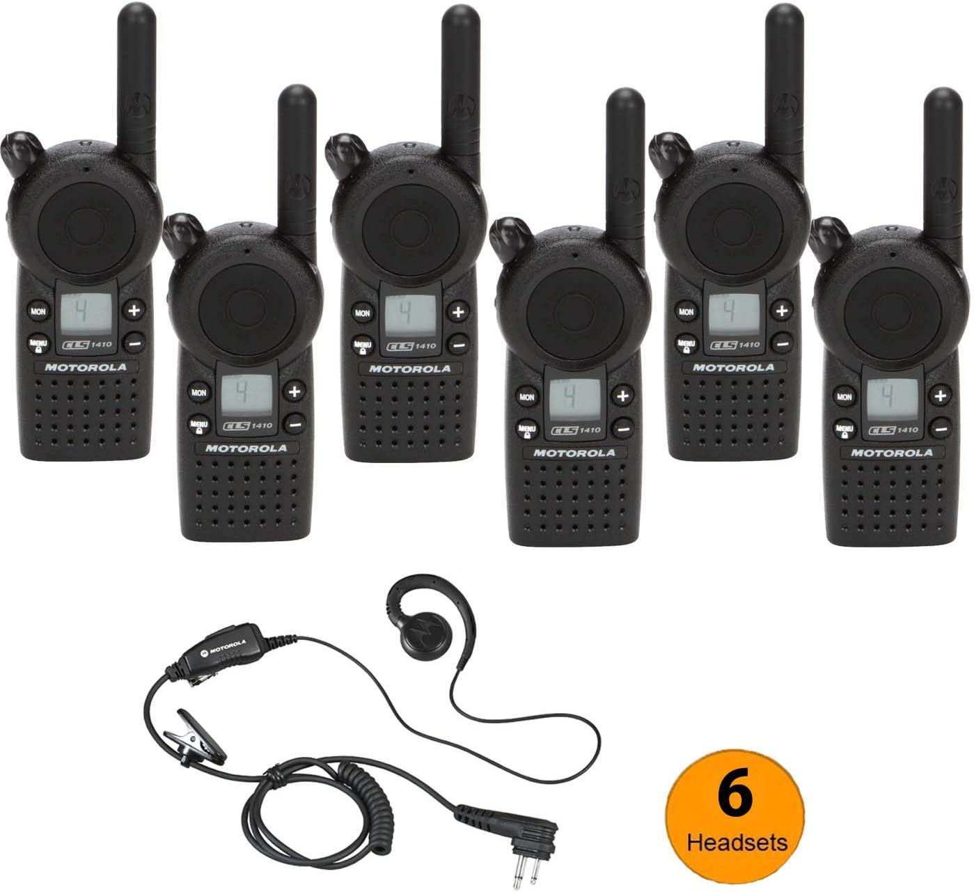 6 Pack of Motorola CLS1410 Walkie Talkie Radios with Headsets, Black