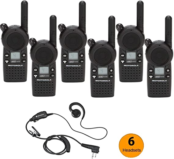 6 Pack of Motorola CLS1410 Walkie Talkie Radios with Headsets /& 6-Bank Charger