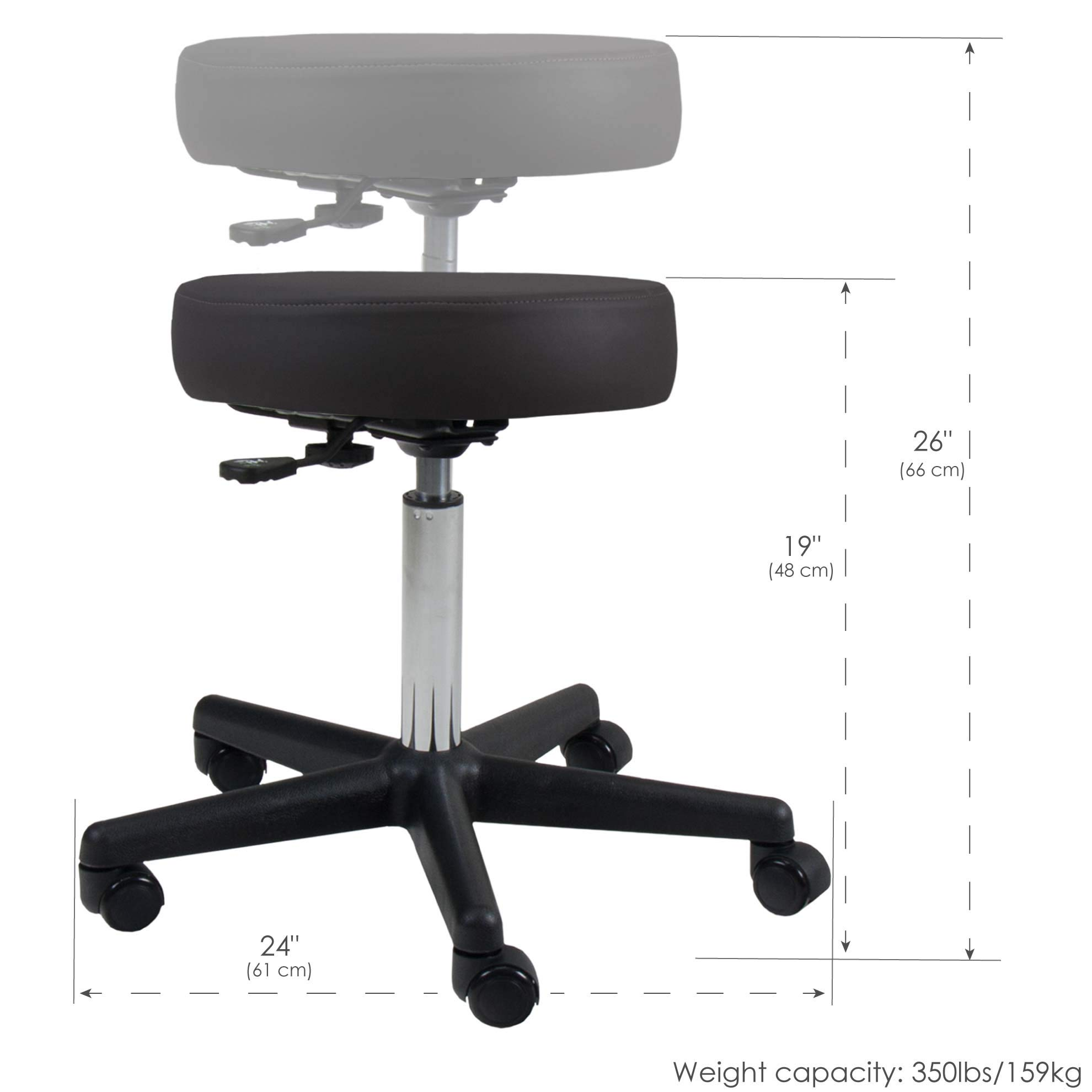 EARTHLITE Pneumatic Rolling Stool - Commercial Grade, Adjustable, CFC-Free, No leaking - Spa, Massage & Medical Chair by EARTHLITE