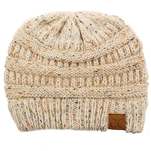 CC Confetti Ombre Warm Chunky Soft Stretch Knit Slouch Beanie Skull Cap Hat Oatmeal