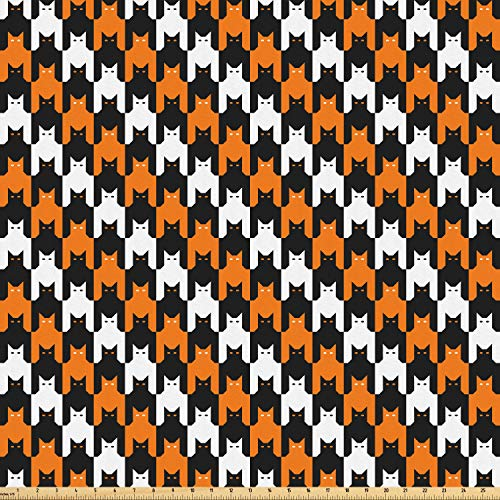 Ambesonne Halloween Fabric by The Yard, Digital Style Catstooth Pattern Pixel Spooky Harvest Fashion Illustration, Microfiber Fabric for Arts and Crafts Textiles & Decor, 5 Yards, Orange Black White ()