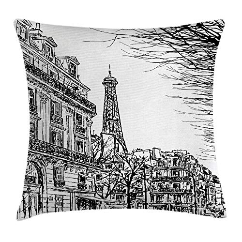 """Ambesonne Paris Throw Pillow Cushion Cover, Sketch Parisian Street with Trees and Eiffel Famous City Scenery Architectural Print, Decorative Square Accent Pillow Case, 20"""" X 20"""", White Black"""