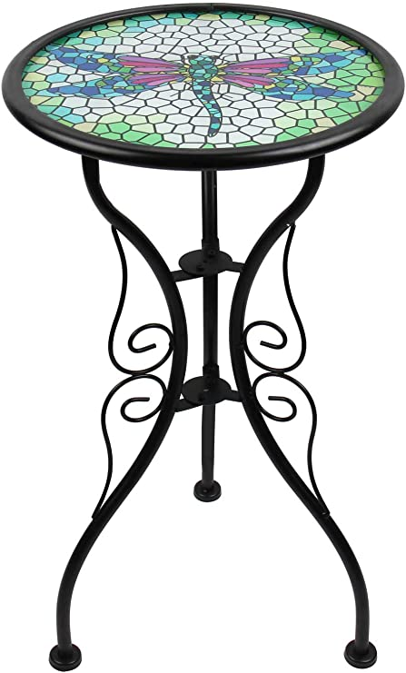 Liffy - Banco de mesa auxiliar para jardín, patio o césped, diseño de mosaico, redondo: Amazon.es: Hogar