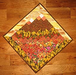 Art Quilt, Fall Sunset Mountains Diagonal Wall Hanging, 31\