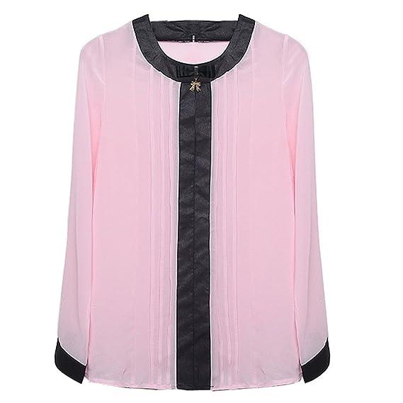 SODIAL Camisa Tops Blusa de gasa de Almazuela de Manga larga de O-cuello Casual