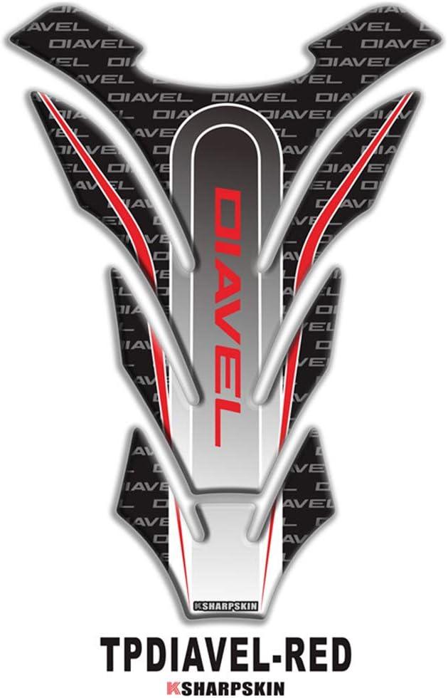 psler Adesivo per serbatoio serbatoio moto 3D per DIAVEL Bianco