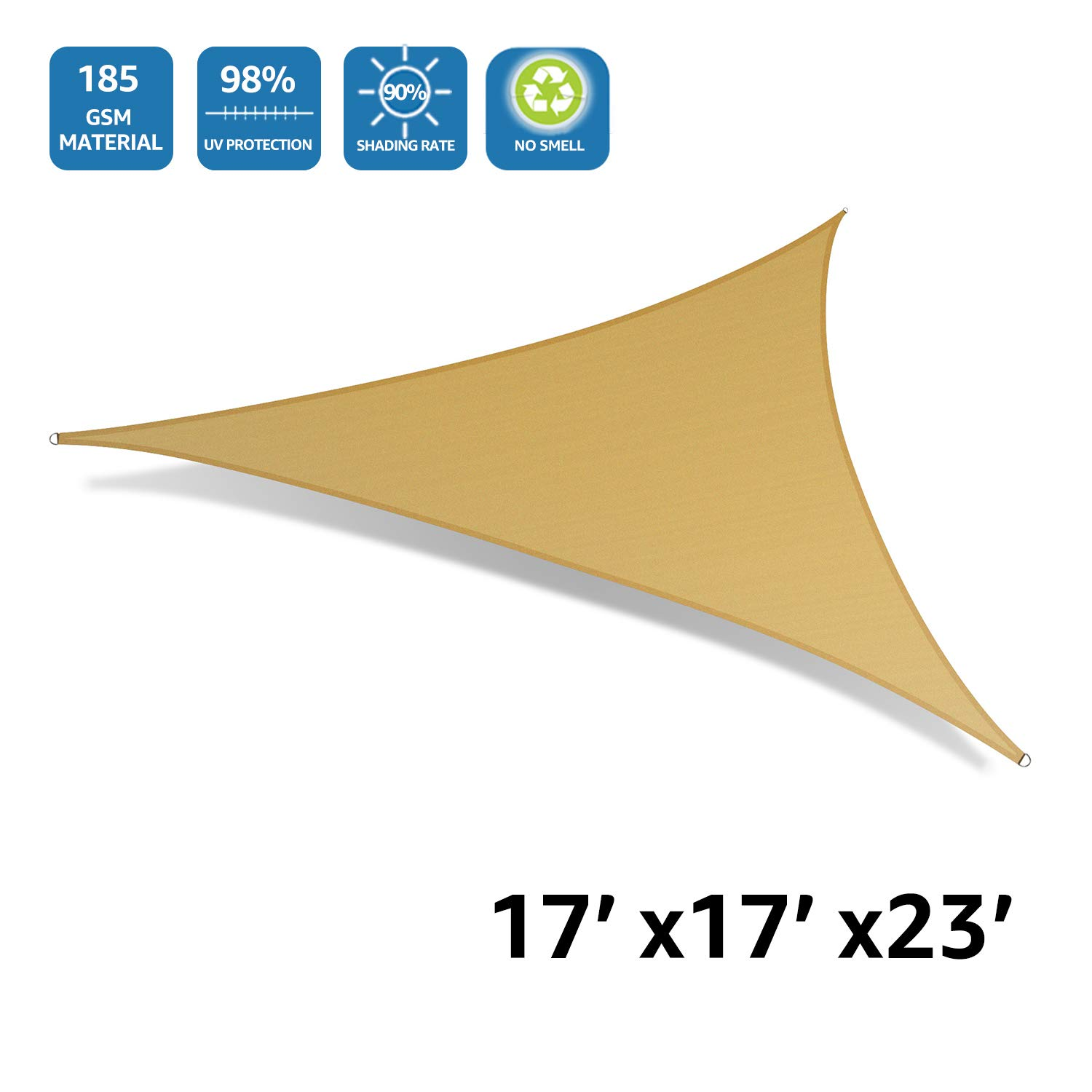 DOEWORKS 17'x17'x23' Right Triangle UV Block Sun Shade Sail Canopy, Shade for Patio Outdoor Lawn Garden, Sand