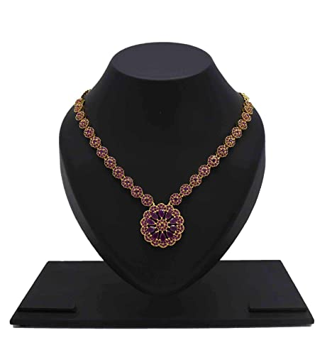 1a16326d455 Buy Kollam Supreme Splendid Gold Plated Red Ruby Necklace Set for Women  Online at Low Prices in India