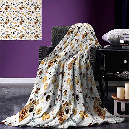 Brown Microfiber Bagel Bed - Anniutwo Modern Throw Blanket Lunch Table Croissant Bagels Coffee Cheese Chocolate Watercolor Artwork Warm Microfiber All Season Blanket Bed Couch 50