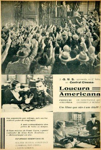 1935 Ad Movie Loucura Americana American Madness 1932 Frank Capra Portuguese - Original Print Ad