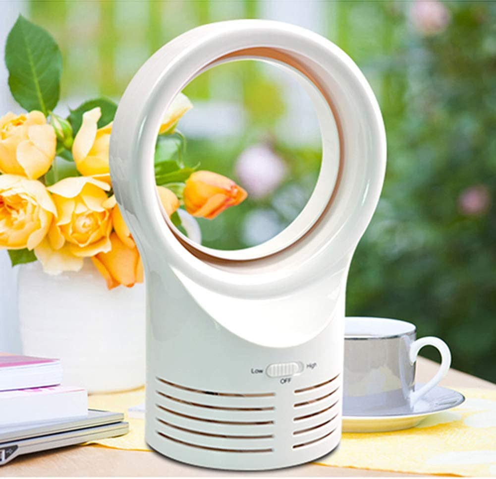 US Plug White Personal USB Fan Home Office Electric Mini Portable Adjustable Wind Speed Desk Bladeless Fan for Household Office