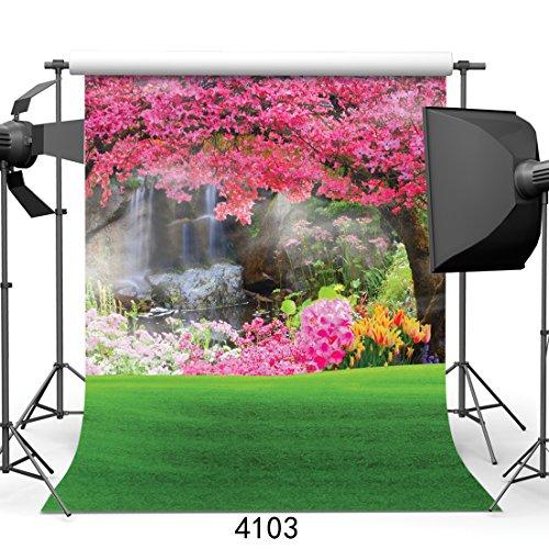 SJOLOON 6x9ft Beautiful Spring Scenery Vinyl Photography Backdrop Customized Photo Background Studio Prop 4103 (Vinyl Backdrops Spring)