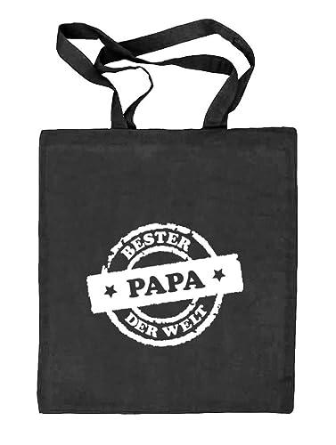 Vatertag Jutebeutel Stoff Tasche Bester Papa der Welt Stempel Shirtstreet24