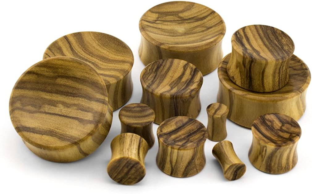 22mm Olive Wood Concave Plugs//Gauges Urban Body Jewelry Pair of 7//8