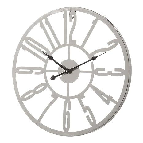Reloj de Pared de Metal Plateado Moderno para salón Vitta - LOLAhome