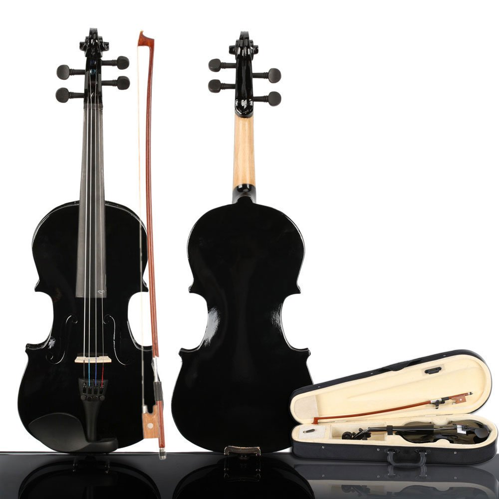 2019 New 3/4 Size Violin Case Acoustic Violin Case Durable Natural Solid Wood Fiddle for Beginners and Students w/Case, Bow and Rosin Black(US stock) by Wrea