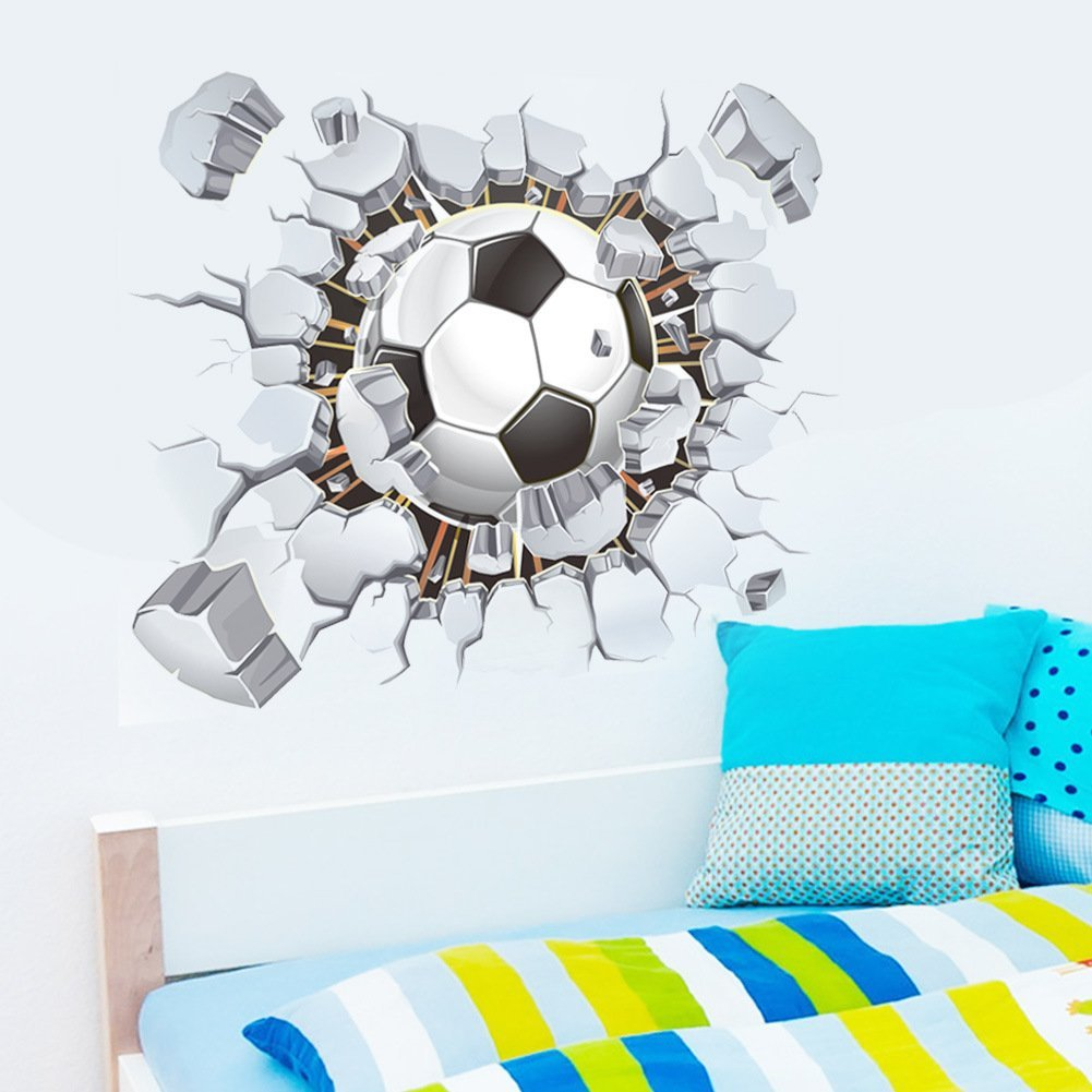 Amazon.com: Soccer Ball Football Broken 3D Decorative Peel Vinyl Wall  Stickers Wall Decals Removable Decors For Living Room Kids Room Baby  Nursery Boys ...