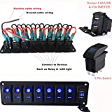 Switchtec 2 3 5 7 Gang Rocker Switch Aluminum Panel with 4.8 Amps Dual USB Fast Charger with Voltmeter, Blue Backlit Led, Pre-Wired for Marine, Boat, Car, Truck