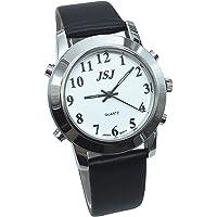Reloj Parlante en Español, Reloj de Pulsera,Esfera Blanco, Negro Correa de Cuero 232ES