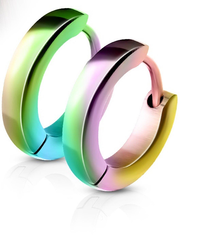 14MM Hoop Earrings Surgical Stainless Steel Rhodium Plated Earrings For Men Women Huggie Hypoallergenic Hoop Earrings (Rainbow)