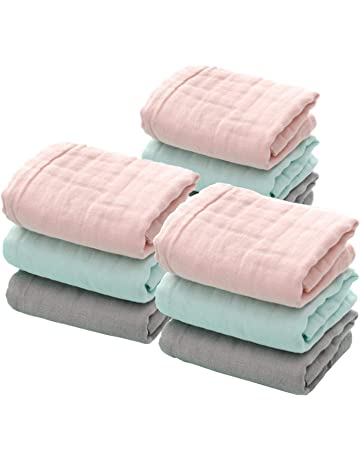LIUNIAN 9 PACKS Toallitas para bebé de muselina, Toallitas de algodón 100% naturales para