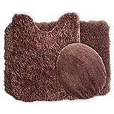 3 Piece Bathroom Mats Sets Lavish Home 3-Piece Super Plush Non-Slip Bath Mat Rug Set, Chocolate