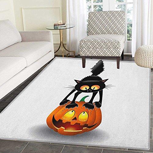 Halloween Area Rug Carpet Black Cat on Pumpkin