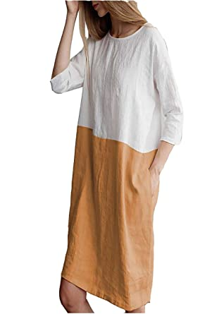 4a0338f2fd7d21 Womens Loose Patchwork 3/4 Sleeves Shirt Oversize Round Neck Plain Color t  Shirt Dress