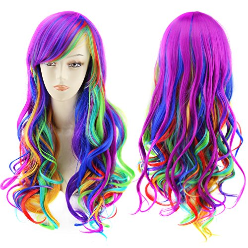 Amazon.com: AGPtEK 27.5 Inches Full Long Curly Wavy Rainbow Hair Wig for Costume Cosplay Party Halloween - Harajuku Lolita Style Heat Resistant: Beauty