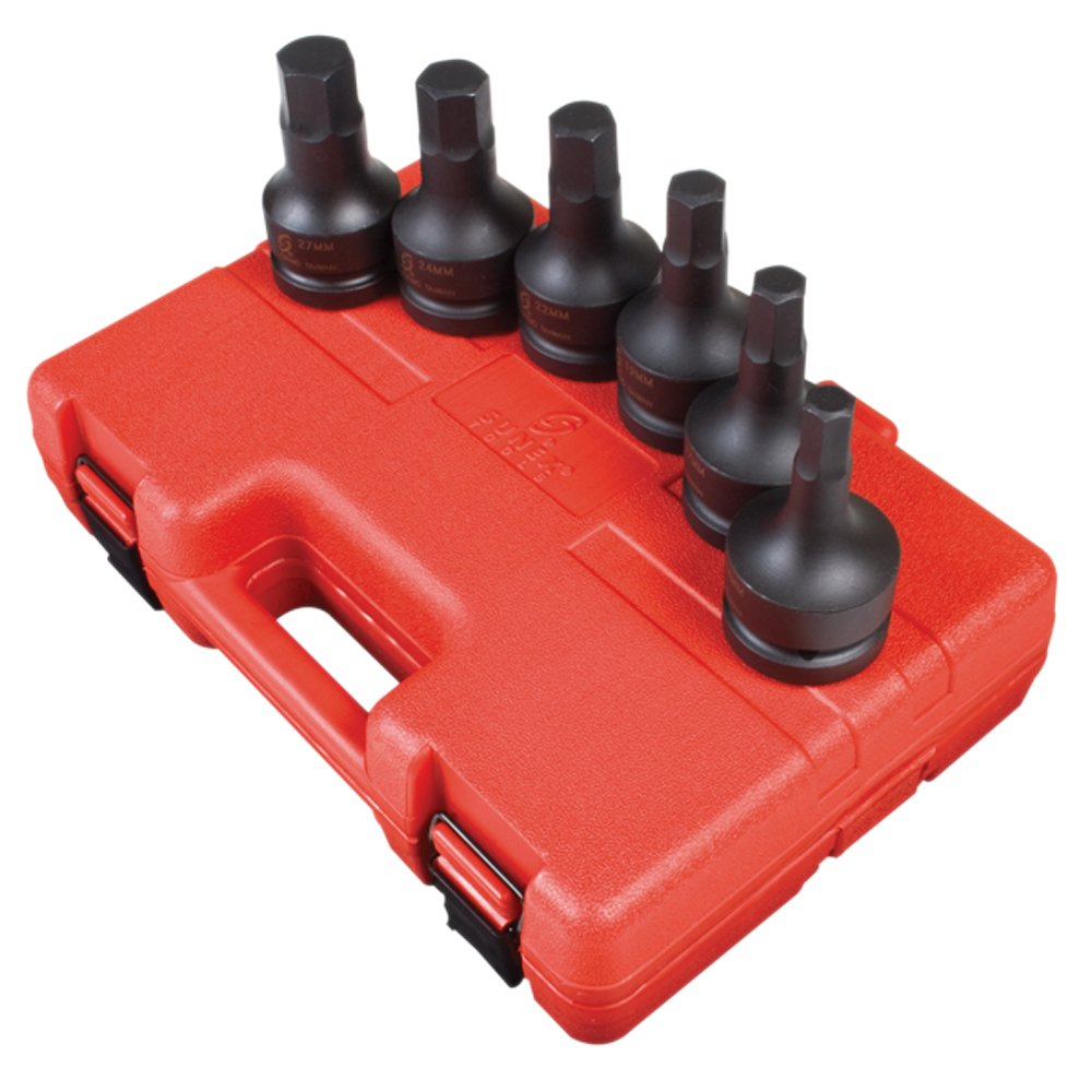 6 piece Sunex International SUN5607 Sunex 5607 1-Inch Drive Metric Hex Driver Set