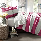 Lush Decor Berlin Stripe 3-Piece Quilt Set, Twin, Hot Pink