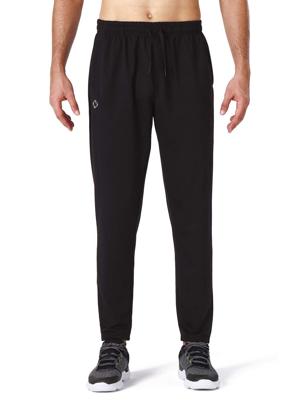 NAVISKIN Herren Jogginghose Trainingshose mit Kordelzug und Rei/ßverschlusstaschen Schmal zulaufende Beinform