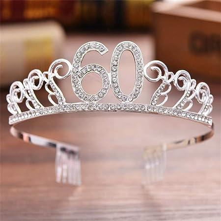 Y-XM Número 60 Cumpleaños Corona Cristal Rosa Tocado Velo ...
