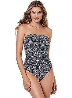 e8383241630 Miraclesuit Women's Swimwear Lush Lanai Avanti Bandeau Underwire Tummy  Control One Piece Swimsuit with Detachable Straps