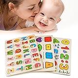 Hindom 56pcs Wooden Toys Doug Deluxe Classic Peg Puzzle Bundle of 3 Puzzles Alphabet/number/Graph For Kids Gift