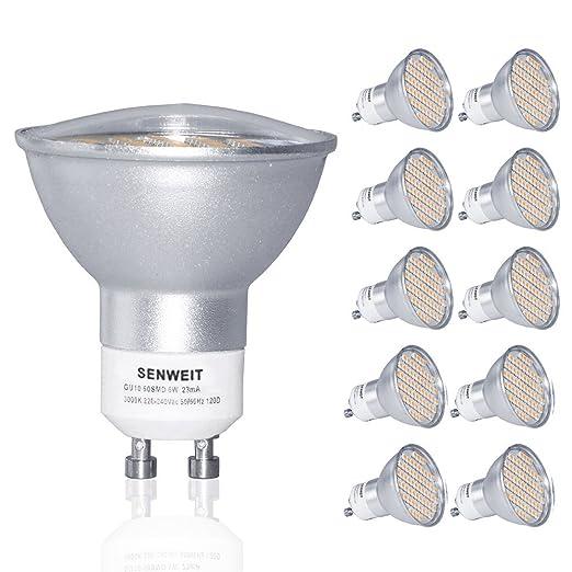 Senweit bombillas LED GU10 6 W focos blanco cálido 3000 K 480LM 120Beam ángulo 60SMD Chip