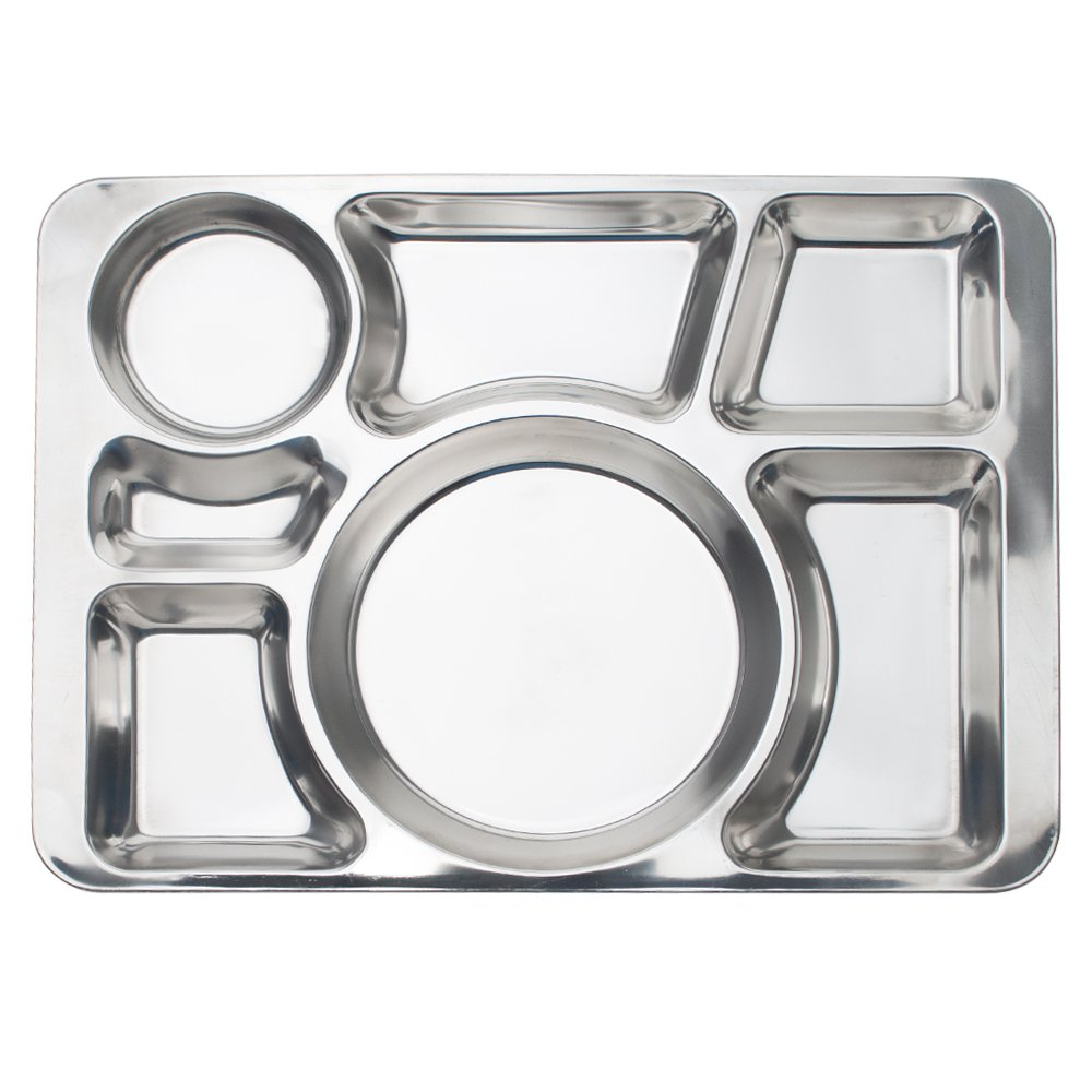 Aspire Divided Dinner Tray/Lunch Container, Metal Plate, 1 Pc-6 Sections TRAH-EN92502_6SECTIONS