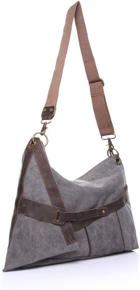 Color : Brown, Size : M Shoulder Diagonal Canvas Bag Crazy Horse Leather Leisure Bag Large Capacity Unisex