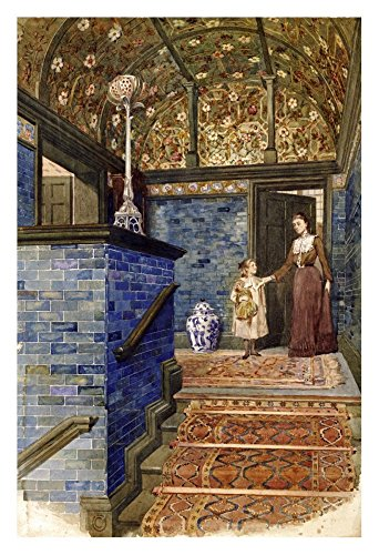 Global Gallery Art on a Budget T. Hamilton Crawford Staircase Hall with William De Morgan Tiles Unframed Giclee on Paper Print, 30