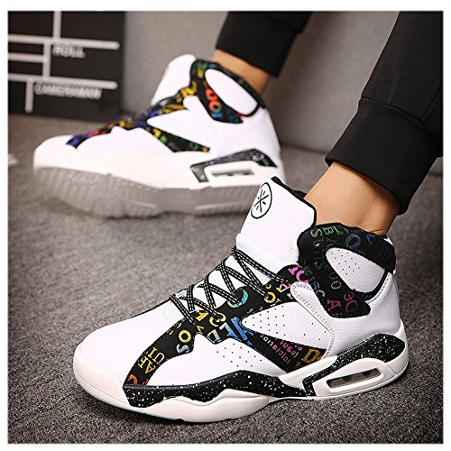 Scurtain Mens Performance Fashion Sneakers Sports Basketball Shoes Shock Absorption White vJXEgElF7