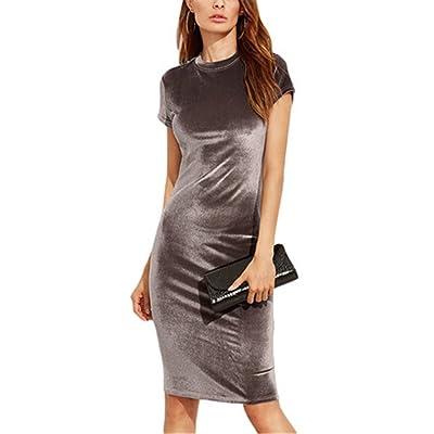 YRUS Brown Velvet Coat Dress Summer Dress Round Neck Short Sleeve Elegant Pencil Dress
