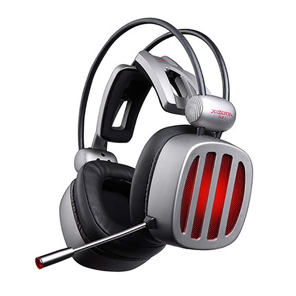 ヘッドバンド有線ゲーミングヘッドセット、Pc用LED音量コントローラー付きサラウンドサウンドステレオヘッドフォン   B07SPR9DSC