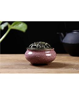 LamDawn Incense Burner with Calabash Incense Stick Holder - Porcelain Charcoal Censer for Use with Resin Granular Powder Cone or Coil Incense (Violet)
