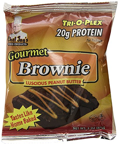 CHEF JAY'S FOOD PRODUCTS TRIOPLEX Gourmet Brownie, Lucsious Peanut Butter, 12 - 3 oz Packages by Chef Jay's