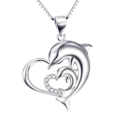 ff443822b3c32 Angel caller Dolphin Necklace Jewelry Gift 925 Sterling Silver Eternal Love  Heart Winter Dolphins Pendant Box Chain for Women 18