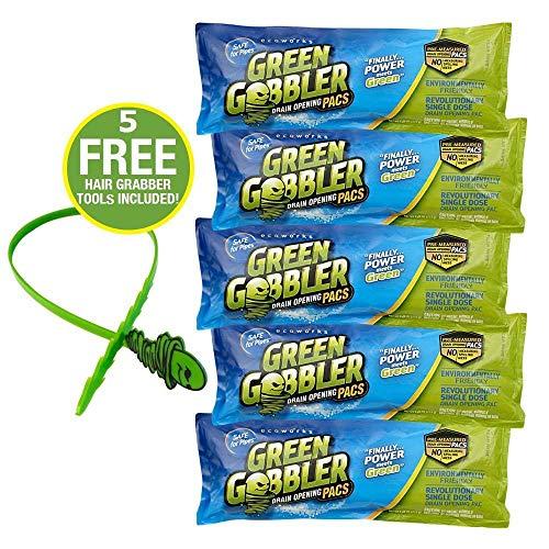 Green Gobbler DRAIN OPENER PACS | Hair Clog Remover | Toilet Clog Remover | Sinks & Tub Drain Cleaner
