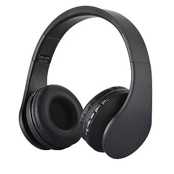 KINGCOO Over-oreja Auriculares Plegables Inalambricos Bluetooth Soporte Tarjeta MicroSD Radio FM Microfono Manos Libres